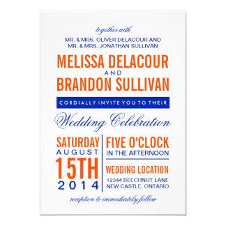 Orange & Navy Modern Typography Wedding Invitation
