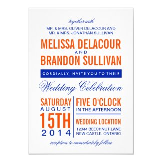 Orange & Navy Modern Typography Wedding Invitation