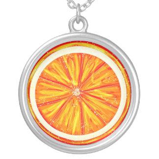 Orange Round Pendant Necklace