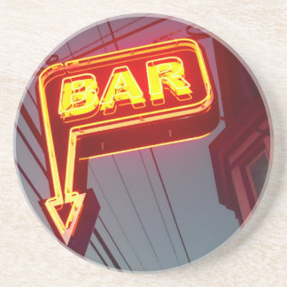 Orange Neon Bar Sign Photograph Drink Coaster