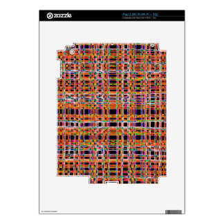 Orange neon lines pattern decal for iPad 2