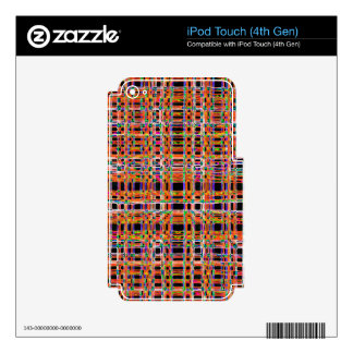 Orange neon lines pattern decal for iPod touch 4G