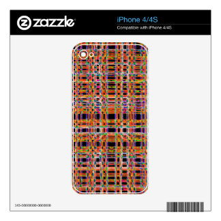 Orange neon lines pattern decals for the iPhone 4