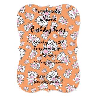 Orange nerd cow pattern 5x7 paper invitation card
