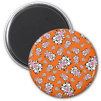 Orange nerd cow pattern magnets