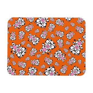Orange nerd cow pattern flexible magnets