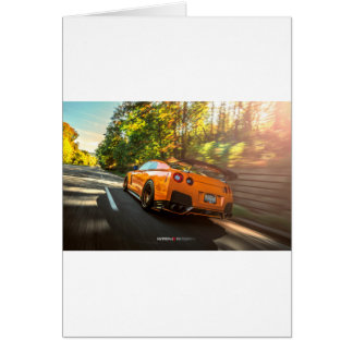 Orange Nissan GT-R Ripping through Seattle streets Greeting Card
