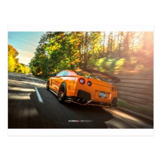 Orange Nissan GT-R Ripping through Seattle streets Postcard