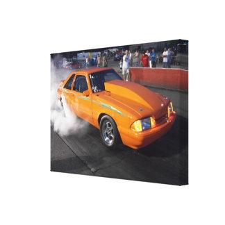 Orange nitrous Mustang Lx burnout Canvas Canvas Prints