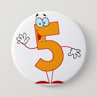 Orange Number 5 Button