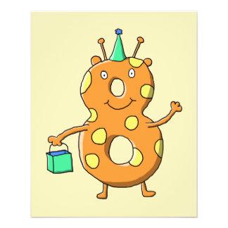 Orange number 8 monster for 8th Birthday. Flyer