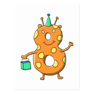 Orange number 8 monster for 8th Birthday. Postcard
