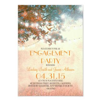Orange oak tree lights love birds engagement party card