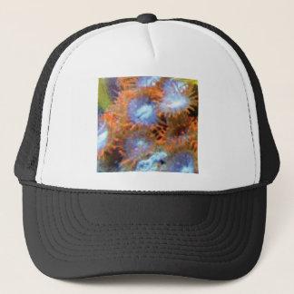orange ocean finger flowers trucker hat
