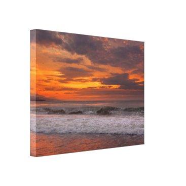 Beach Themed Orange Ocean Sunset Canvas Print
