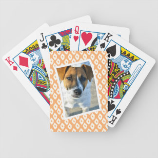 Orange Ocelot Pattern Custom Photo Frame Bicycle Playing Cards