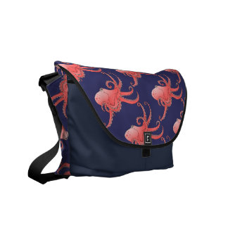 Orange octopi messenger bag