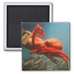 Orange Octopus 2 Inch Square Magnet