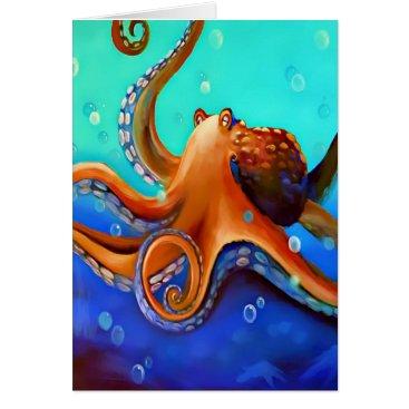 Beach Themed Orange Octopus Card