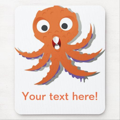 Orange octopus cartoon mouse pad