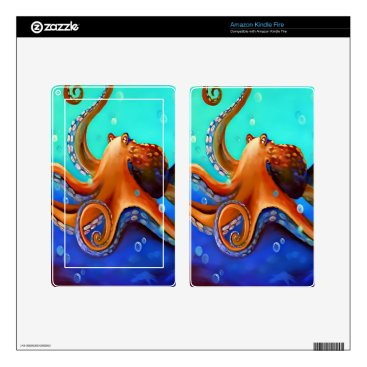 Beach Themed Orange Octopus Decal For Kindle Fire