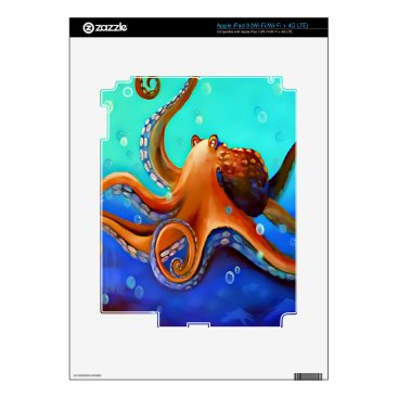 Beach Themed Orange Octopus Decals For iPad 3