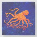 Orange Octopus Facing Left - Marble Coaster