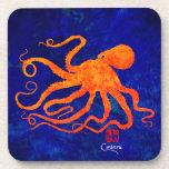 Orange Octopus - Hard Plastic Coasters