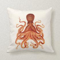 Orange Octopus Illustration on Cream Throw Pillow