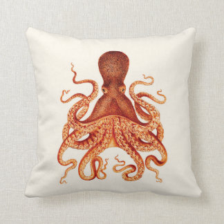 Orange Octopus Illustration on Cream Throw Pillow
