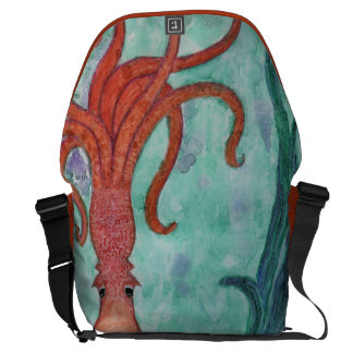 Orange Octopus in Blue Green Purple Watercolor Messenger Bag