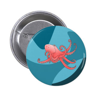 Orange octopus in swirling sea pinback button