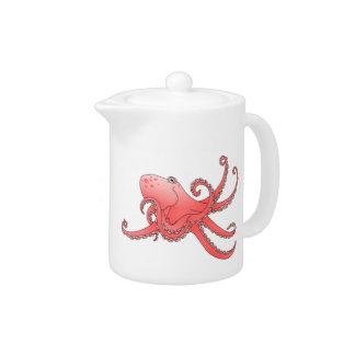 Orange octopus in swirling sea
