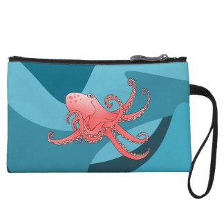 Orange octopus in the blue ocean. wristlets
