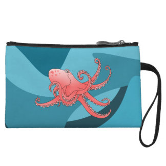 Orange octopus in the blue ocean. wristlet wallet