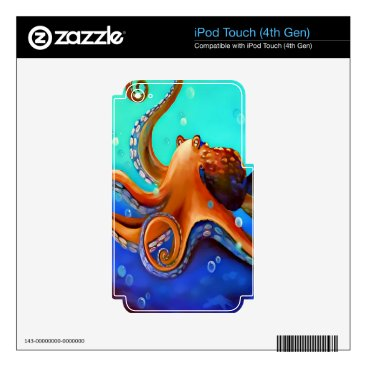 Beach Themed Orange Octopus iPod Touch 4G Skin
