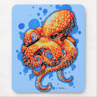 orange octopus - mouse pad