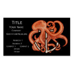 Orange Octopus Over Anchor Business Card Templates