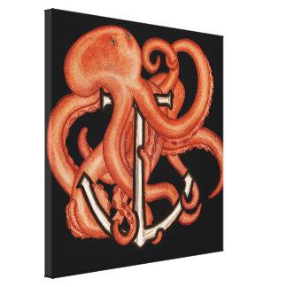 Orange Octopus Over Anchor Canvas Print