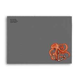 Orange Octopus Over Anchor Envelope