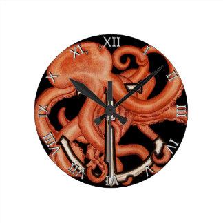 Orange Octopus Over Anchor Round Clock