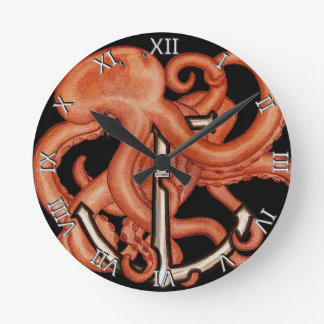 Orange Octopus Over Anchor Round Clocks