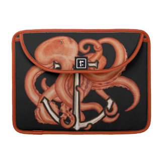 Orange Octopus Over Anchor Sleeve For MacBooks
