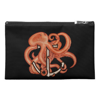 Orange Octopus Over Anchor Travel Accessory Bags