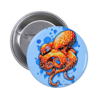 orange octopus pinback button