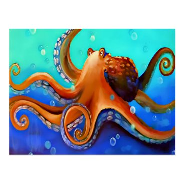 Beach Themed Orange Octopus Postcard