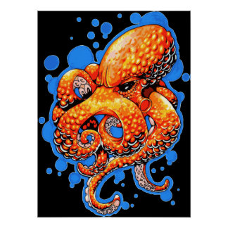 Orange Octopus Print