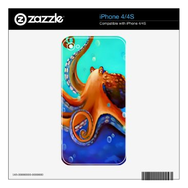 Beach Themed Orange Octopus Skin For iPhone 4S