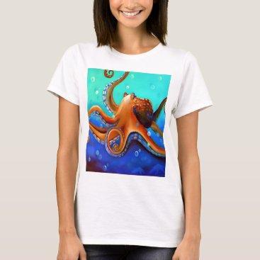 Beach Themed Orange Octopus T-Shirt