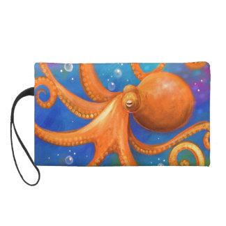 Orange Octopus  Travel Accessory Bag Wristlet Purse